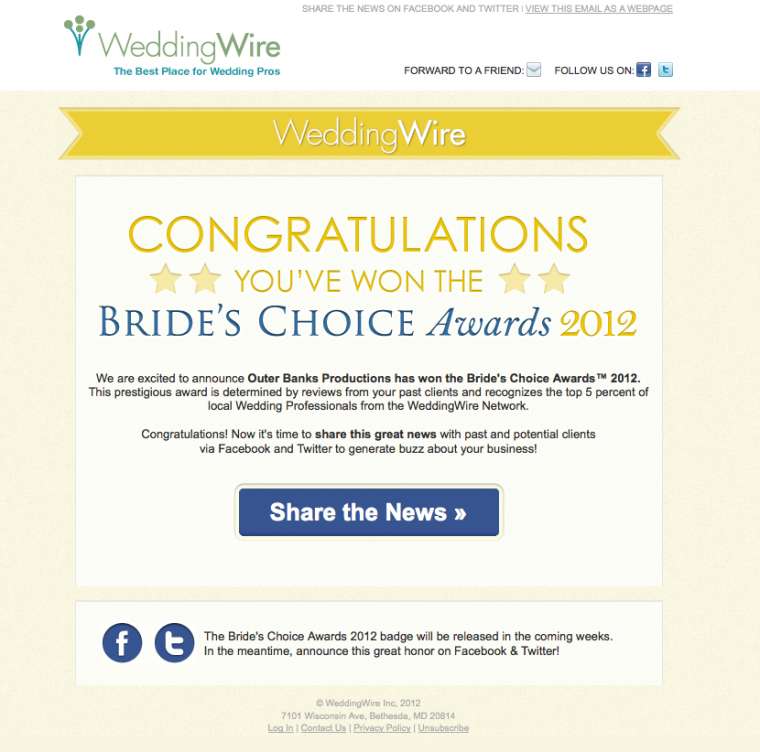Outer Banks Productions - Wedding Wire Bride